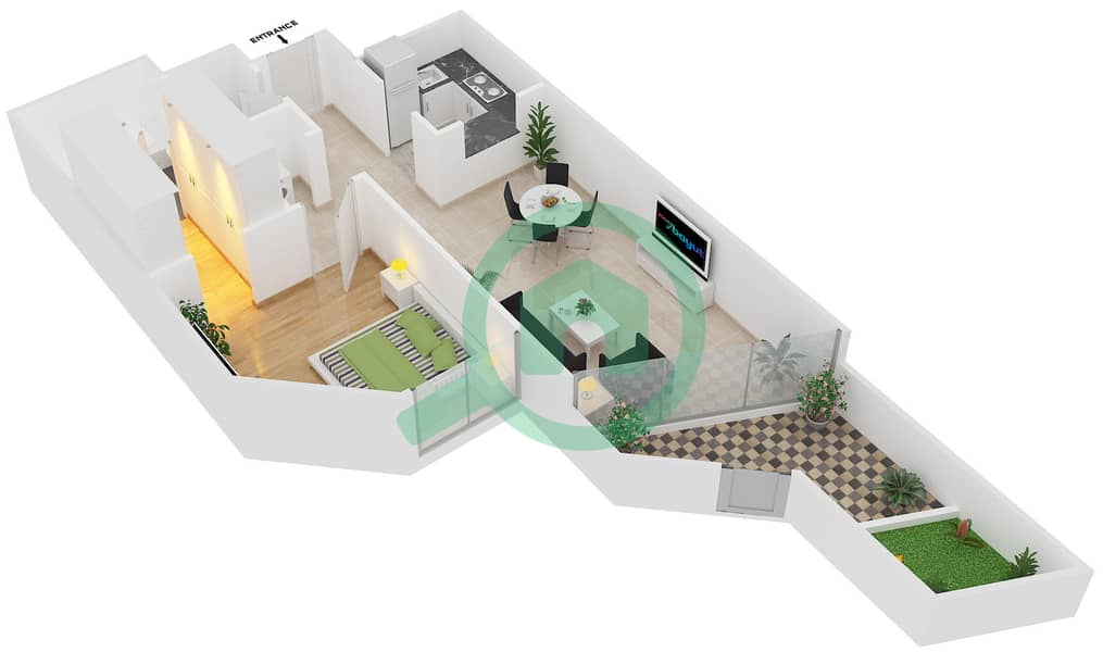 Magnolia Residence - 1 Bedroom Apartment Type G-1B-4 Floor plan image3D