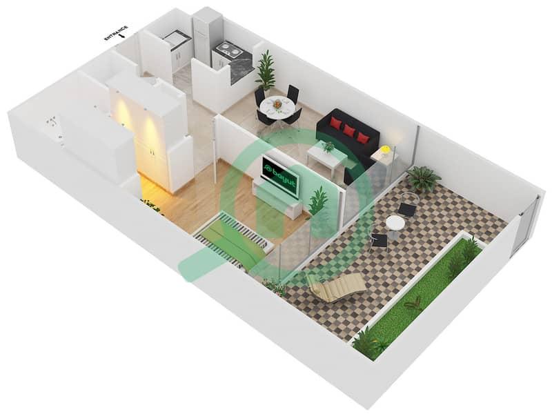 Magnolia Residence - 1 Bedroom Apartment Type G-1B-3 Floor plan image3D