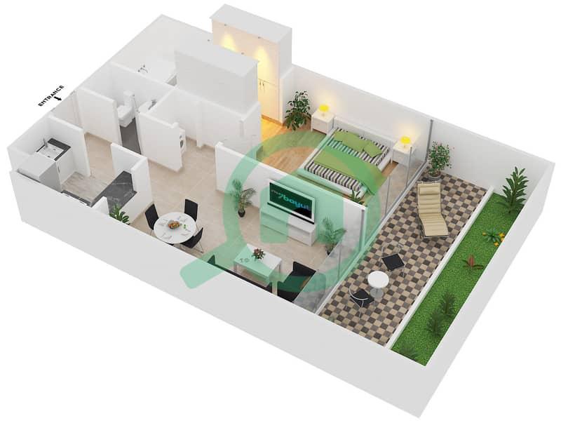 Magnolia Residence - 1 Bedroom Apartment Type G-1B-2 Floor plan image3D