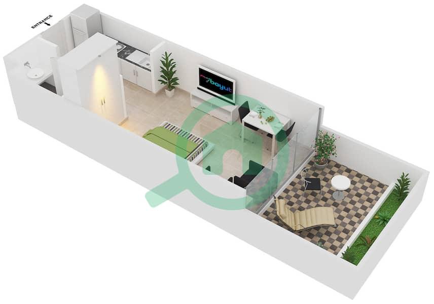 Magnolia Residence - Studio Apartment Type G-S -1 Floor plan image3D
