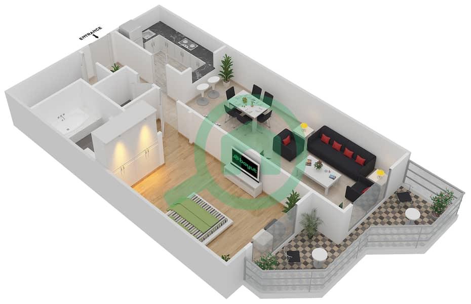 المخططات الطابقية لتصميم النموذج 18 شقة 1 غرفة نوم - بلازو ريزيدنس image3D