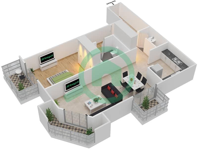 Plazzo Residence - 1 Bedroom Apartment Type 17 Floor plan image3D