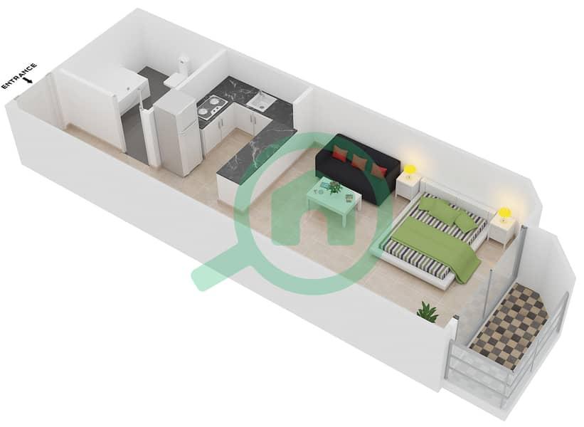 Plazzo Residence - Studio Apartment Type 8 Floor plan image3D