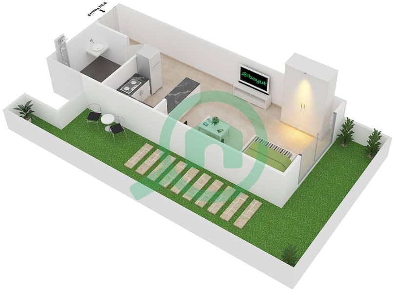 Plazzo Residence - Studio Apartment Type 7 Floor plan image3D