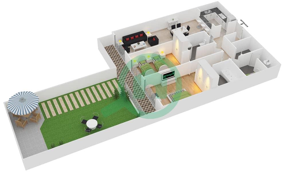 Plazzo Residence - 2 Bedroom Apartment Type 30 Floor plan image3D