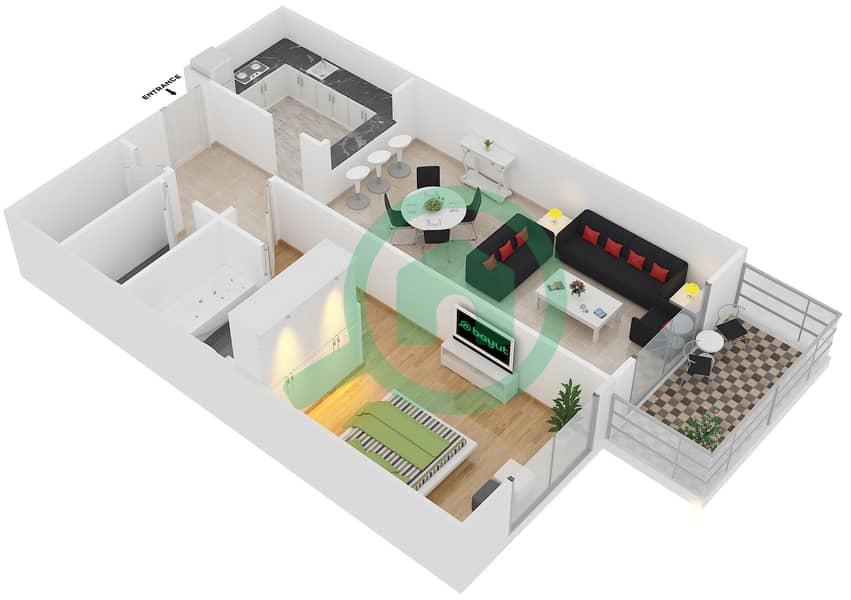 Plazzo Residence - 1 Bedroom Apartment Type 19 Floor plan image3D