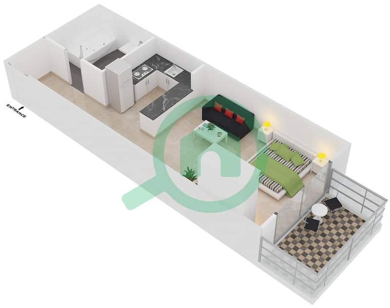 Plazzo Residence - Studio Apartment Type 10 Floor plan image3D