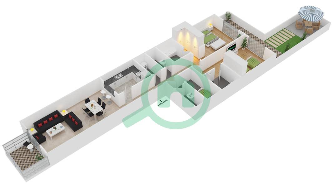 Plazzo Residence - 2 Bedroom Apartment Type 32 Floor plan image3D