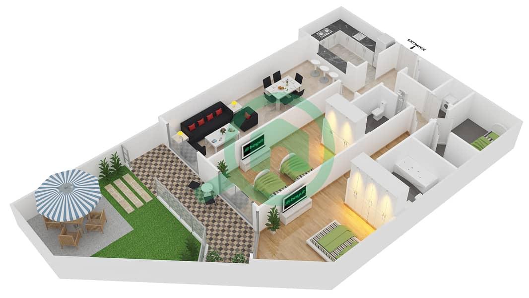 المخططات الطابقية لتصميم النموذج 31 شقة 2 غرفة نوم - بلازو ريزيدنس image3D