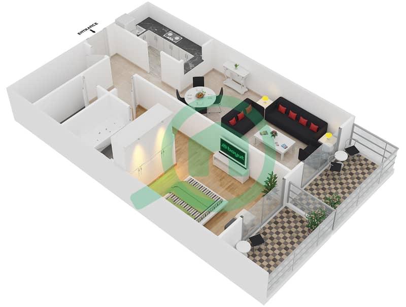 Plazzo Residence - 1 Bedroom Apartment Type 22 Floor plan image3D