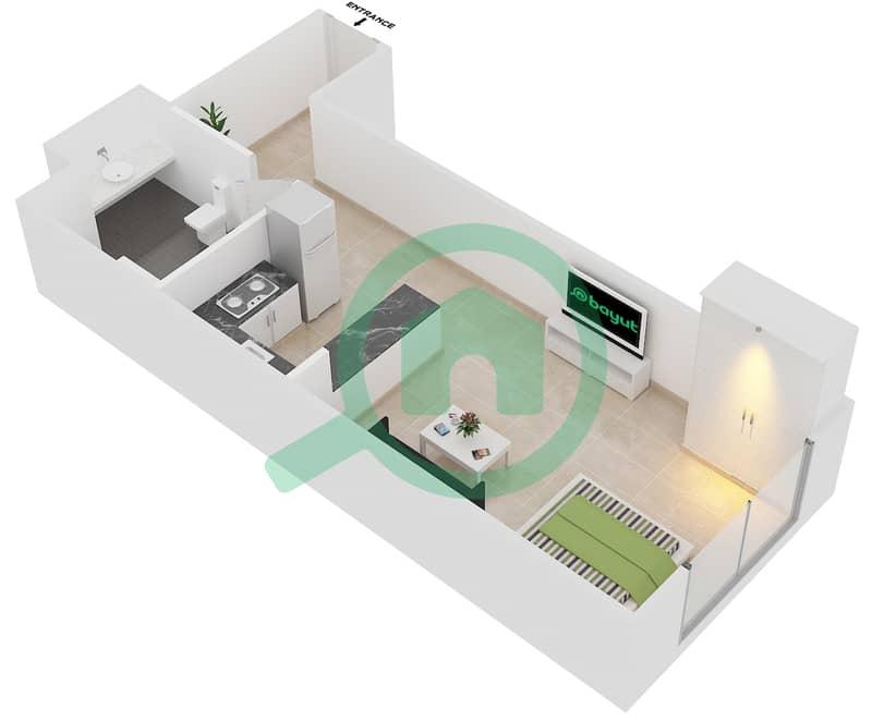 Plazzo Residence - Studio Apartment Type 2 Floor plan image3D
