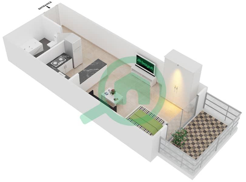 Plazzo Residence - Studio Apartment Type 1 Floor plan image3D