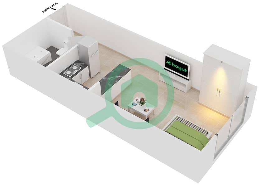 Plazzo Residence - Studio Apartment Type 11 Floor plan image3D