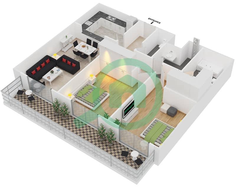 المخططات الطابقية لتصميم النموذج 34 شقة 2 غرفة نوم - بلازو ريزيدنس image3D