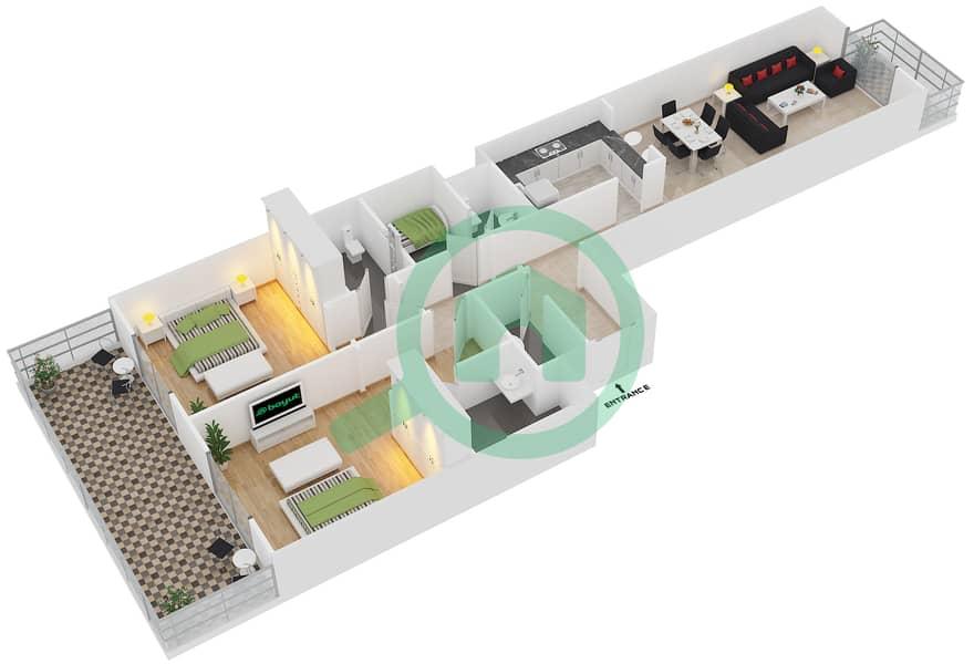 المخططات الطابقية لتصميم النموذج 33 شقة 2 غرفة نوم - بلازو ريزيدنس image3D