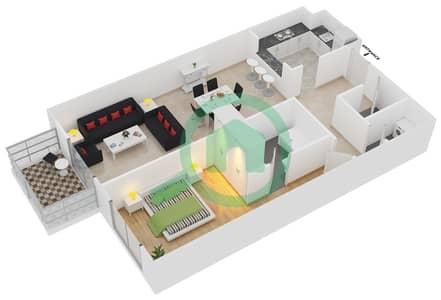 Plazzo Residence - 1 Bedroom Apartment Type 24 Floor plan