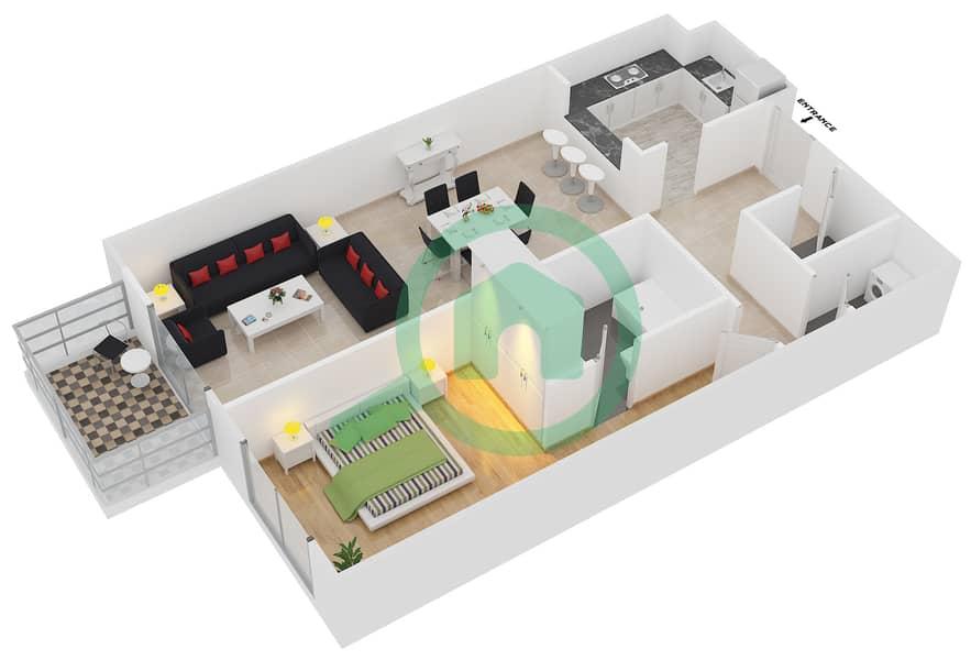 Plazzo Residence - 1 Bedroom Apartment Type 24 Floor plan image3D