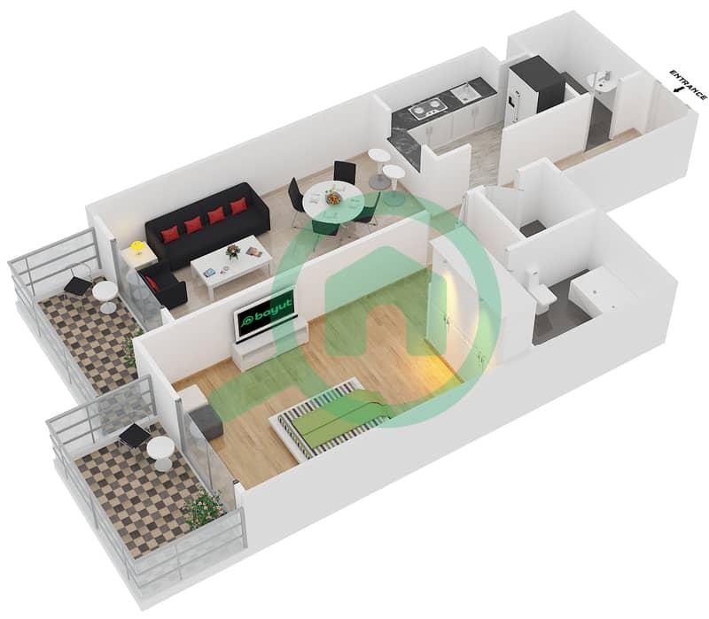 Plazzo Residence - 1 Bedroom Apartment Type 23 Floor plan image3D