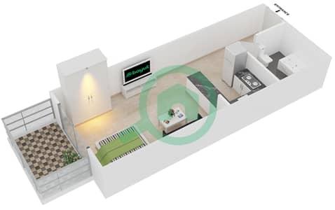 Plazzo Residence - Studio Apartment Type 14 Floor plan
