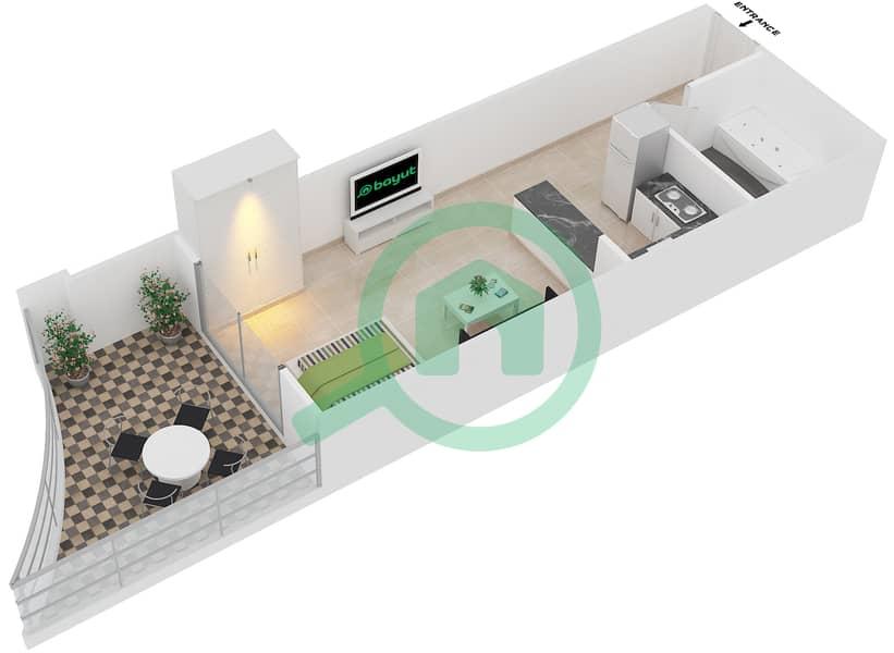 Plazzo Residence - Studio Apartment Type 13 Floor plan image3D