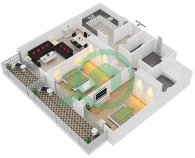 Plazzo Residence - 2 Bedroom Apartment Type 36 Floor plan