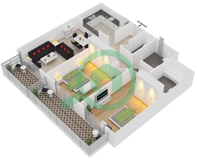 Plazzo Residence - 2 Bedroom Apartment Type 36 Floor plan image3D