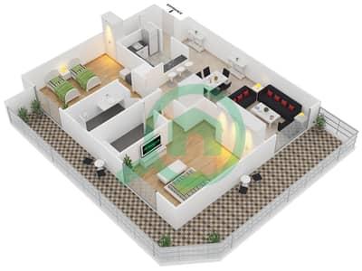 Plazzo Residence - 2 Bedroom Apartment Type 35 Floor plan