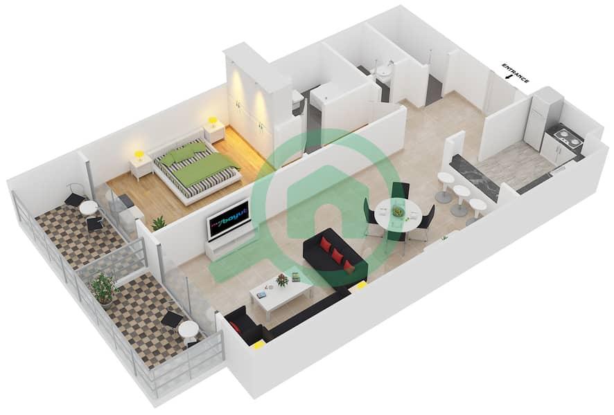 المخططات الطابقية لتصميم النموذج 26 شقة 1 غرفة نوم - بلازو ريزيدنس image3D