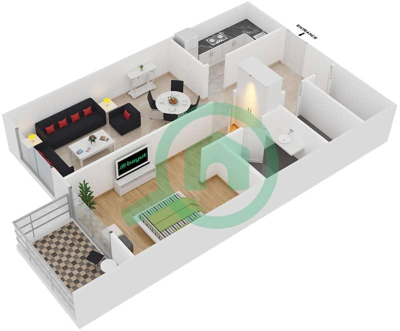 المخططات الطابقية لتصميم النموذج 16 شقة 1 غرفة نوم - بلازو ريزيدنس image3D