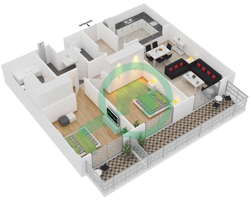 Plazzo Residence - 2 Bedroom Apartment Type 38 Floor plan image3D