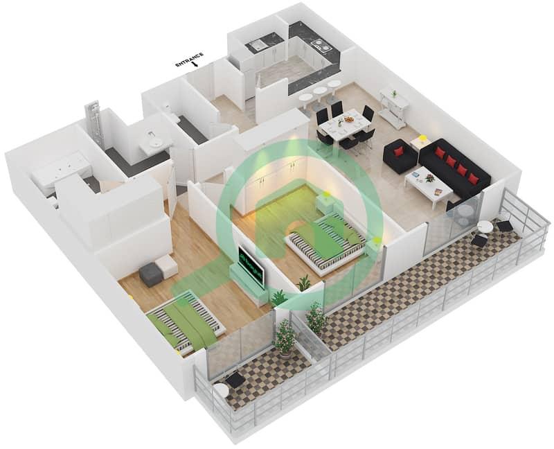 Plazzo Residence - 2 Bedroom Apartment Type 37 Floor plan image3D