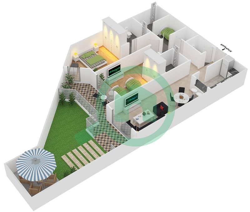 Plazzo Residence - 2 Bedroom Apartment Type 28 Floor plan image3D