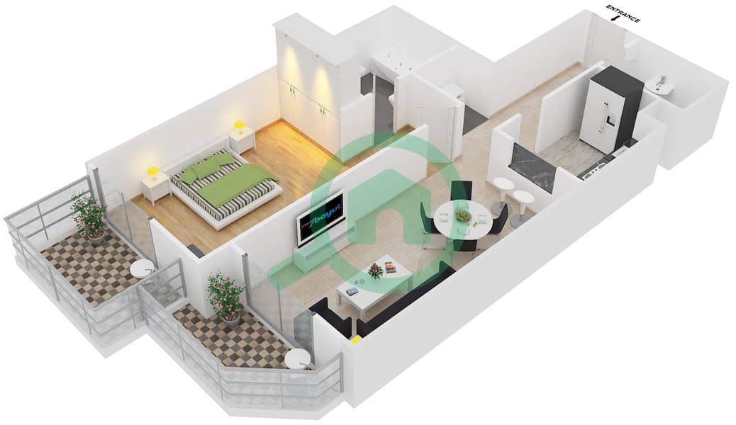 Plazzo Residence - 1 Bedroom Apartment Type 27 Floor plan image3D