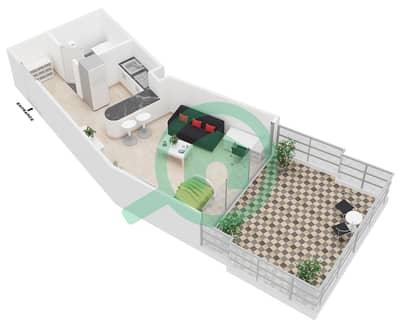 Al Jawhara Residences - Studio Apartment Type 20 Floor plan