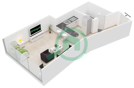 Al Jawhara Residences - Studio Apartment Type 19 Floor plan