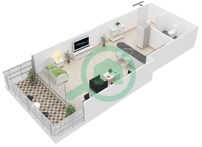 Al Jawhara Residences - Studio Apartment Type 15 Floor plan