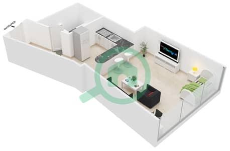 Al Jawhara Residences - Studio Apartment Type 14 Floor plan