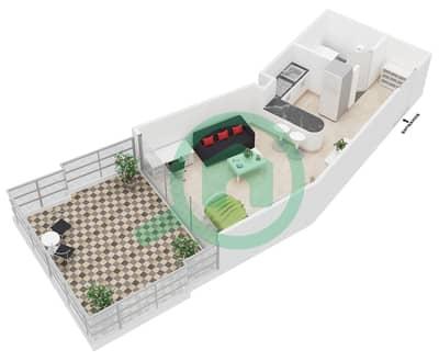 Al Jawhara Residences - Studio Apartment Type 13 Floor plan