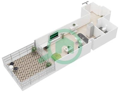 Al Jawhara Residences - Studio Apartment Type 12 Floor plan