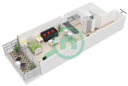 Al Jawhara Residences - Studio Apartment Type 7 Floor plan