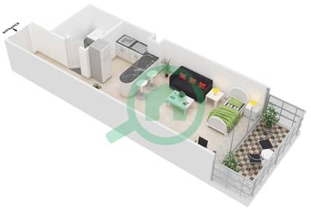 Al Jawhara Residences - Studio Apartment Type 6 Floor plan