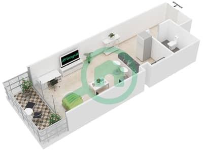 Al Jawhara Residences - Studio Apartment Type 5 Floor plan