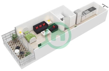 Al Jawhara Residences - Studio Apartment Type 4 Floor plan
