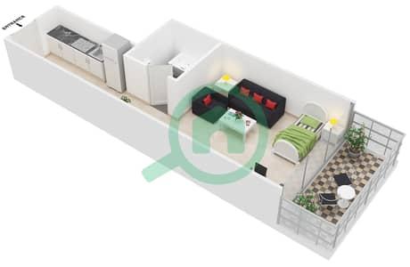 Al Jawhara Residences - Studio Apartment Type 3 Floor plan