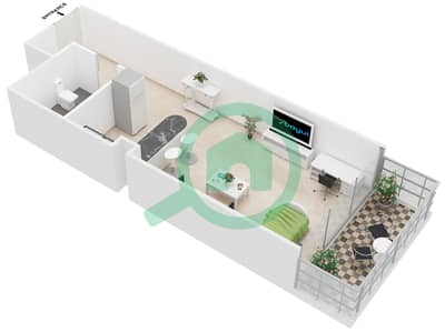 Al Jawhara Residences - Studio Apartment Type 2 Floor plan