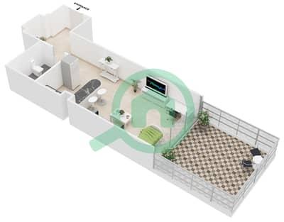 Al Jawhara Residences - Studio Apartment Type 1 Floor plan