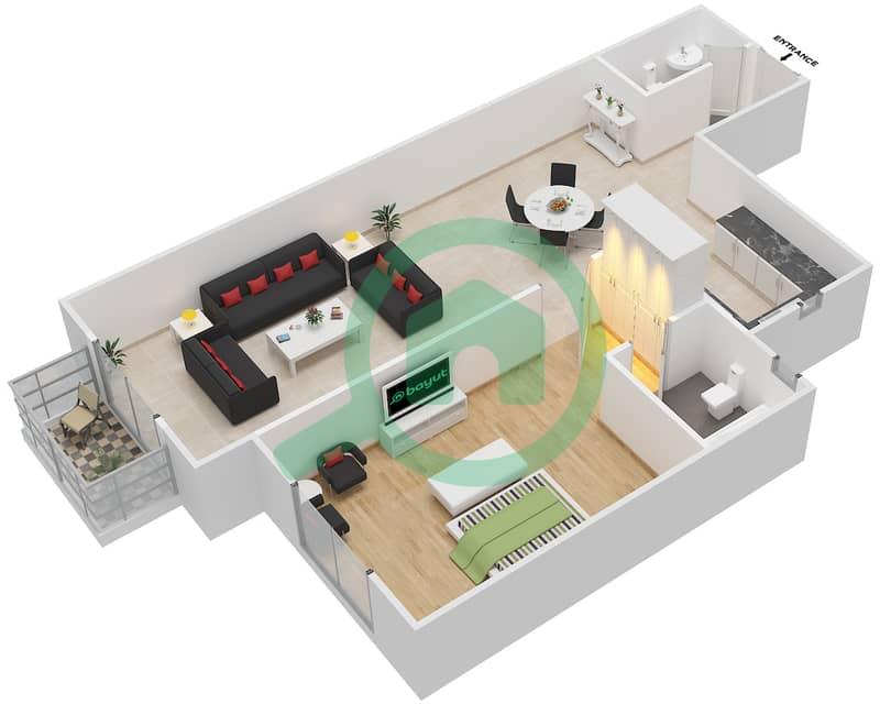 المخططات الطابقية لتصميم الوحدة 23 AEEZZO 1 شقة 1 غرفة نوم - توسكان ريزيدنس Second Floor image3D
