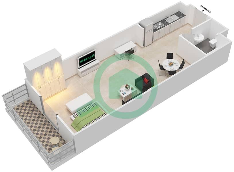 المخططات الطابقية لتصميم الوحدة 16 FLORENCE 1 شقة  - توسكان ريزيدنس Floor 1 image3D