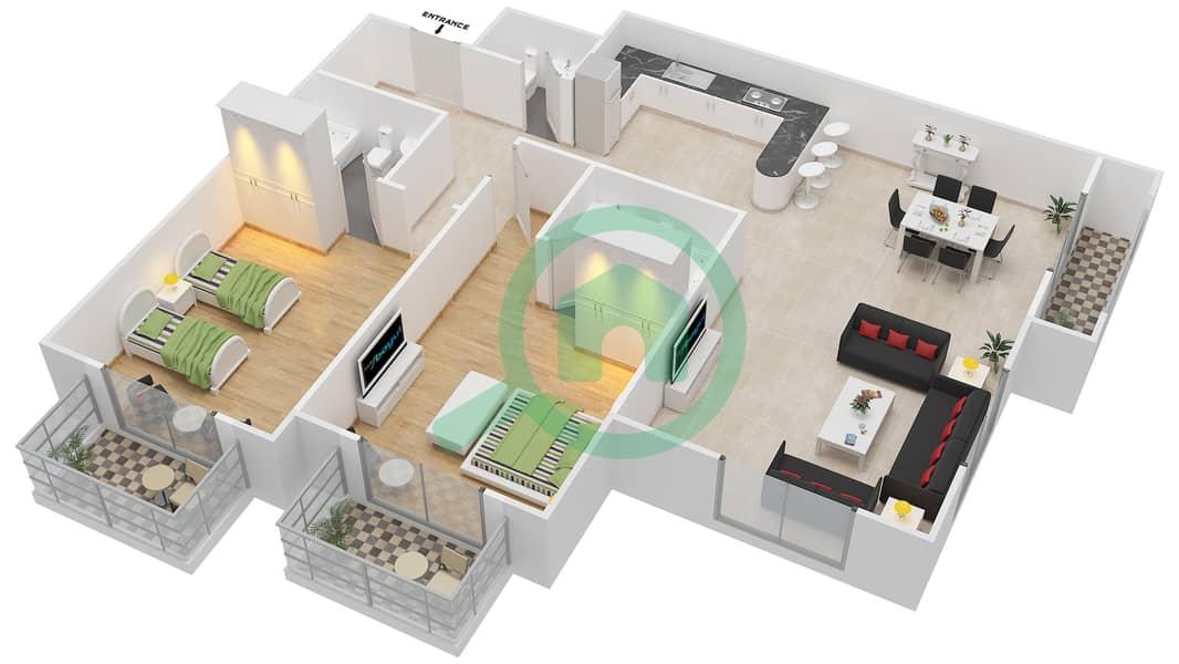 المخططات الطابقية لتصميم الوحدة 8 SIENA 1 شقة 2 غرفة نوم - توسكان ريزيدنس Second Floor image3D