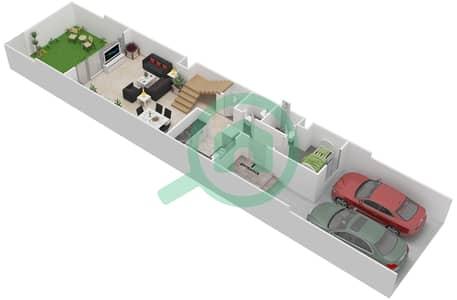 المخططات الطابقية لتصميم النموذج TYPICAL فیلا 3 غرف نوم - توليب بارك